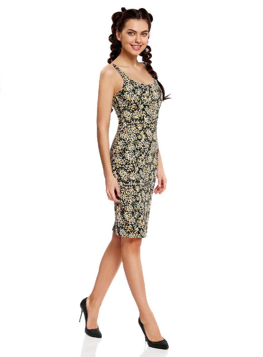 Платье14015007-3B/37809/1223EЛегкое обтягивающее платье oodji Ultra, выгодно подчеркивающее достоинства фигуры, выполнено из качественного трикотажа. Модель миди-длины с круглым вырезом горловины и узкими бретелями оформлена оригинальным узором. Юбка с задней стороны дополнена разрезом.