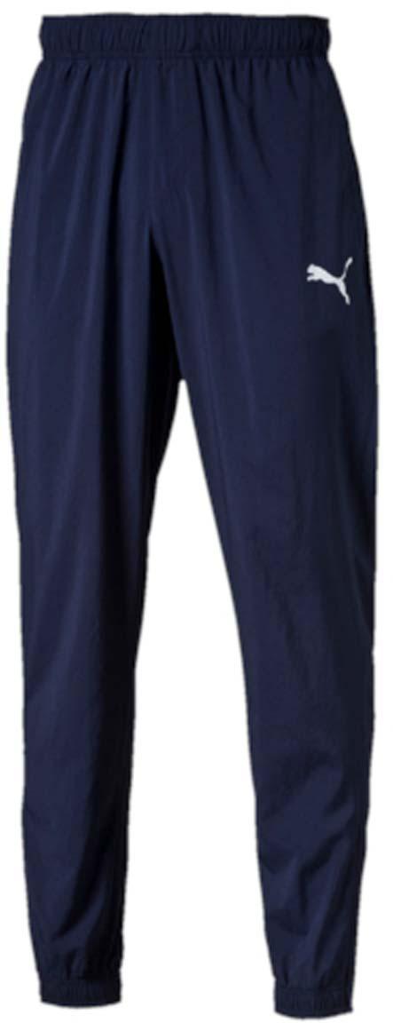 Брюки спортивные83838906Мужские спортивные брюки ESS Woven Pants Cl - это очень удобная и легкая модель, которая гарантирует свободу движений и позволяет телу дышать. Изделие выполнено из полиэстера с биопропиткой. Материал изделия легко растягивается, но при этом очень прочный, что обеспечивает полную свободу движений. Среди других особенностей изделия - эластичный пояс с продернутыми в нем затягивающимися шнурами, карманы на молнии, манжеты из эластичного трикотажа с молниями, а также нашитая сверху задняя кокетка для лучшей посадки по фигуре. Брюки декорированы логотипом PUMA, нанесенным методом глянцевой печати.