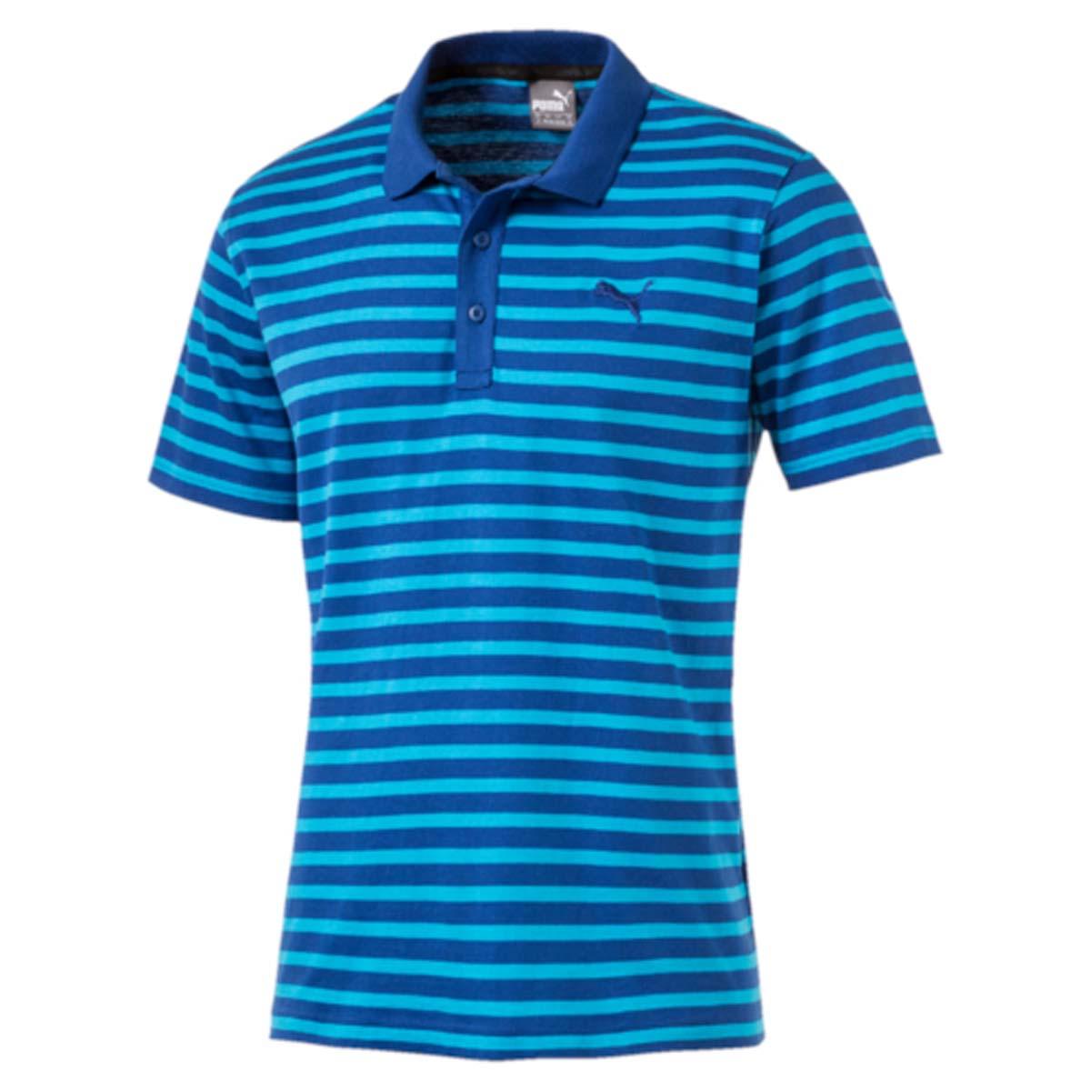 Поло83825031Стильная мужская рубашка-поло ESS Striped Jersey Polo выполнена из 100% хлопка с финальной влагоотводящей обработкой на основе биотехнологий. Модель декорирована логотипом PUMA и принтом в полоску. Среди других отличительных особенностей изделия - отложной воротник из трикотажа в рубчик, отделка тесьмой с фирменной символикой с внутренней стороны ворота и пуговицы с фирменной символикой PUMA. Классический крой понравится ценителям простого и лаконичного стиля, а воротник добавит элегантности модели. Отличный вариант для повседневного образа.