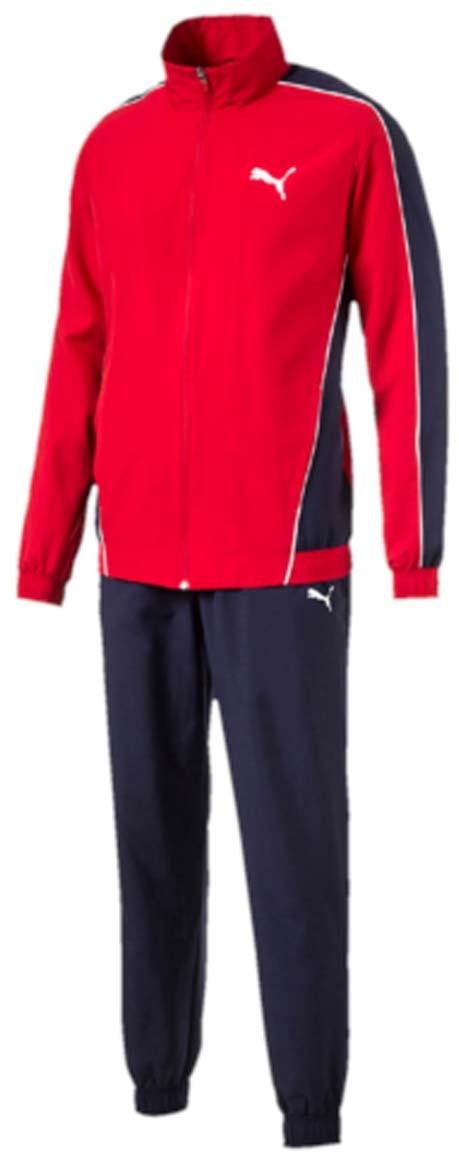 Спортивный костюм590888_09Костюм спортивный мужской Flash Woven Suit op отлично подойдет для тренировок, он обеспечит свободу движений и комфорт во время занятий. Костюм выполнен из 100% полиэстера. Куртка застегивается на молнию, имеет воротник-стойку, длинные рукава и боковые карманы. Пояс и манжеты отделаны эластичным трикотажем в резинку. Пояс брюк из эластичного материала снабжен затягивающимся шнуром, манжеты понизу штанин выполнены из эластичного трикотажа. Куртка декорирована логотипом PUMA и контрастной отделкой швов на рукавах и боках. Брюки также декорированы логотипом PUMA.
