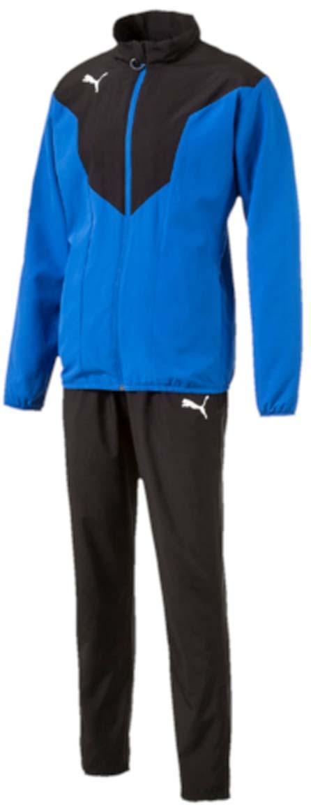 Спортивный костюм65520023Двухцветный спортивный костюм ftblTRG Woven Tracksuit идеален для занятий спортом и прогулок на свежем воздухе. Костюм выполнен из прочного и долговечного полиэстера и снабжен подкладкой. Куртка застегивается на молнию, имеет воротник-стойку, длинные рукава и боковые карманы. Манжеты рукавов и низ куртки отделаны резинкой. Брюки снабжены поясом из эластичного материала и боковыми прорезными карманами. По низу штанин вшиты застежки-молнии. Куртка декорирована логотипом PUMA, а также контрастными вставками. Брюки также декорированы логотипом PUMA. Куртка и брюки имеют стандартную посадку.