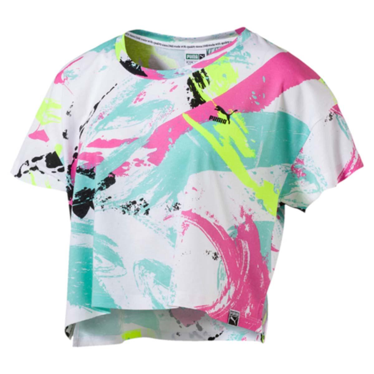 Футболка57248257Стильная укороченная футболка Archive Logo Cropped Tee маст хев этого сезона. Боковые разрезы и свободный крой обеспечивают свободу движений. Задний подол удлинен. Модель декорирована ярким принтом.