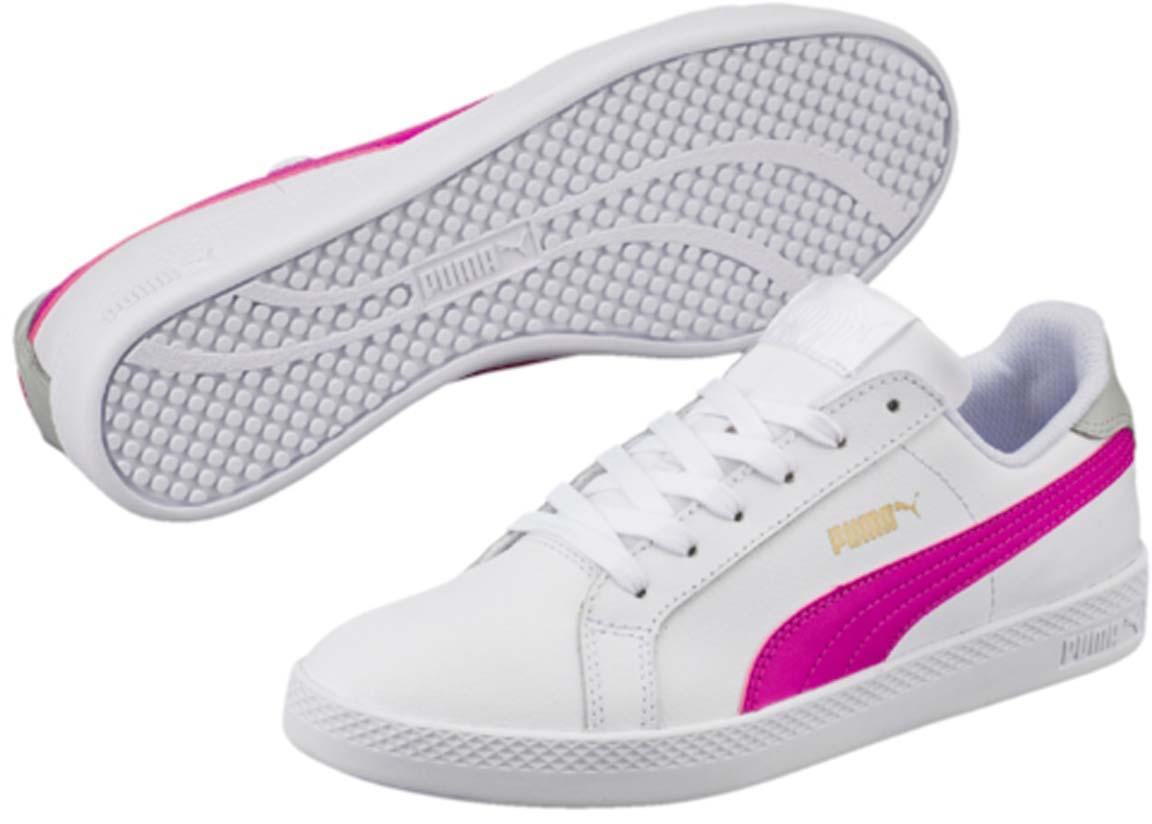 Кеды36078009Модель Puma Smash Wns L для женщин сохраняет простоту и чистоту линий, свойственную классическим теннисным туфлям. Верх из мягкой кожи с традиционной полосой придает модели женственный, нарядный и стильный облик и делает её отличным дополнением к повседневному гардеробу.