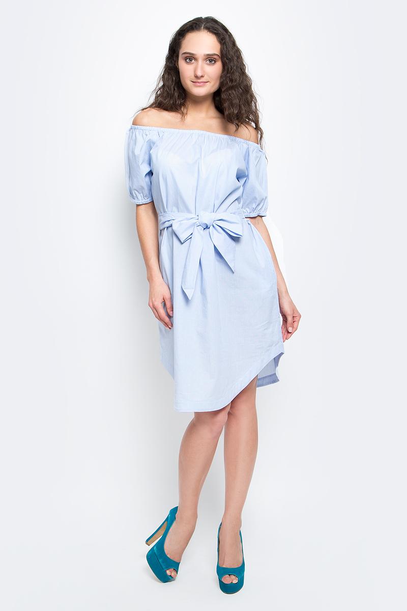 ПлатьеB457056_Tear Drop StripedСтильное летнее платье Baon выполнено из 100% хлопка. Модель приталенного силуэта с открытыми плечами и полукруглым низом подарит вам комфорт и подчеркнет достоинства фигуры. На талии предусмотрен пояс. Линия декольте и нижний край рукава дополнены эластичной резинкой. В таком платье вы будете выглядеть элегантно и женственно.
