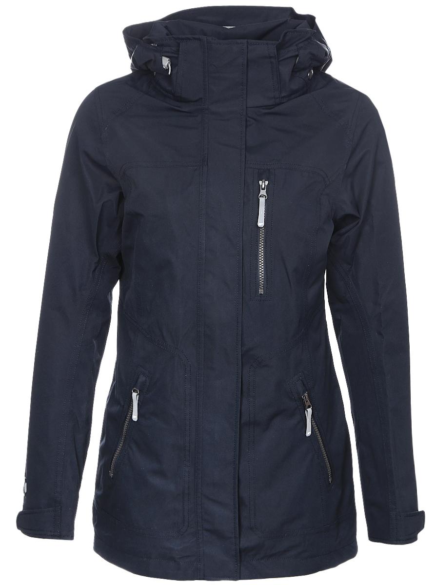 Куртка753011553IVЖенская куртка Icepeak выполнена из качественного полиэстера. Модель с длинными рукавами застегивается на застежку-молнию. Изделие дополнено съемным капюшоном и тремя врезными карманами на молниях.