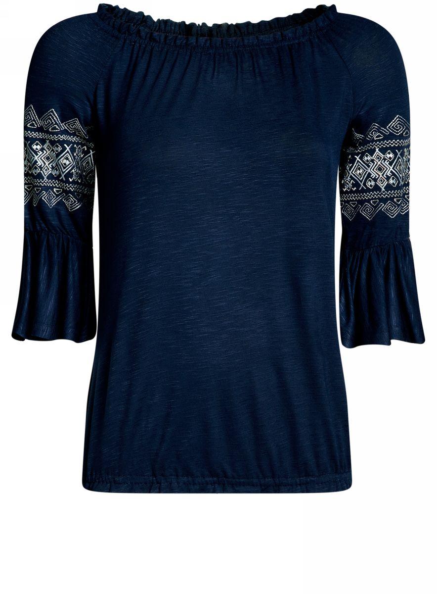 Блузка14207003/45201/1200NБлузка женская oodji Ultra выполнена из высококачественного материала. Модель с круглым вырезом горловины оформлена вышивкой. Рукава дополнены рюшами.