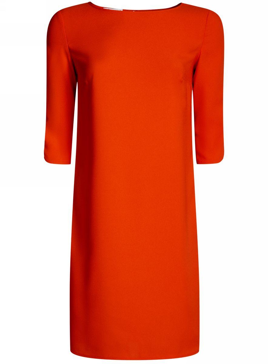 Платье21900322B/42913/4500NЛаконичное платье oodji Collection прямого силуэта выполнено из качественной ткани. Модель средней длины с вырезом лодочкой и рукавами 3/4 оформлена вырезом-капелькой на спине.