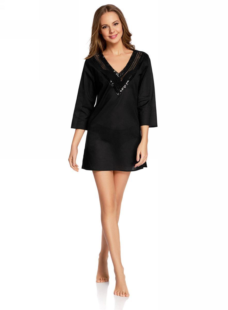 Платье домашнее59801016/46575/1000NДомашнее платье А-силуэта oodji Collection выполнено из натурального хлопка. Модель мини-длины с рукавами 3/4 имеет V-образный вырез горловины, оформленный ажурным плетением и пайетками. Платье также отлично подходит для использования в качестве пляжной туники.