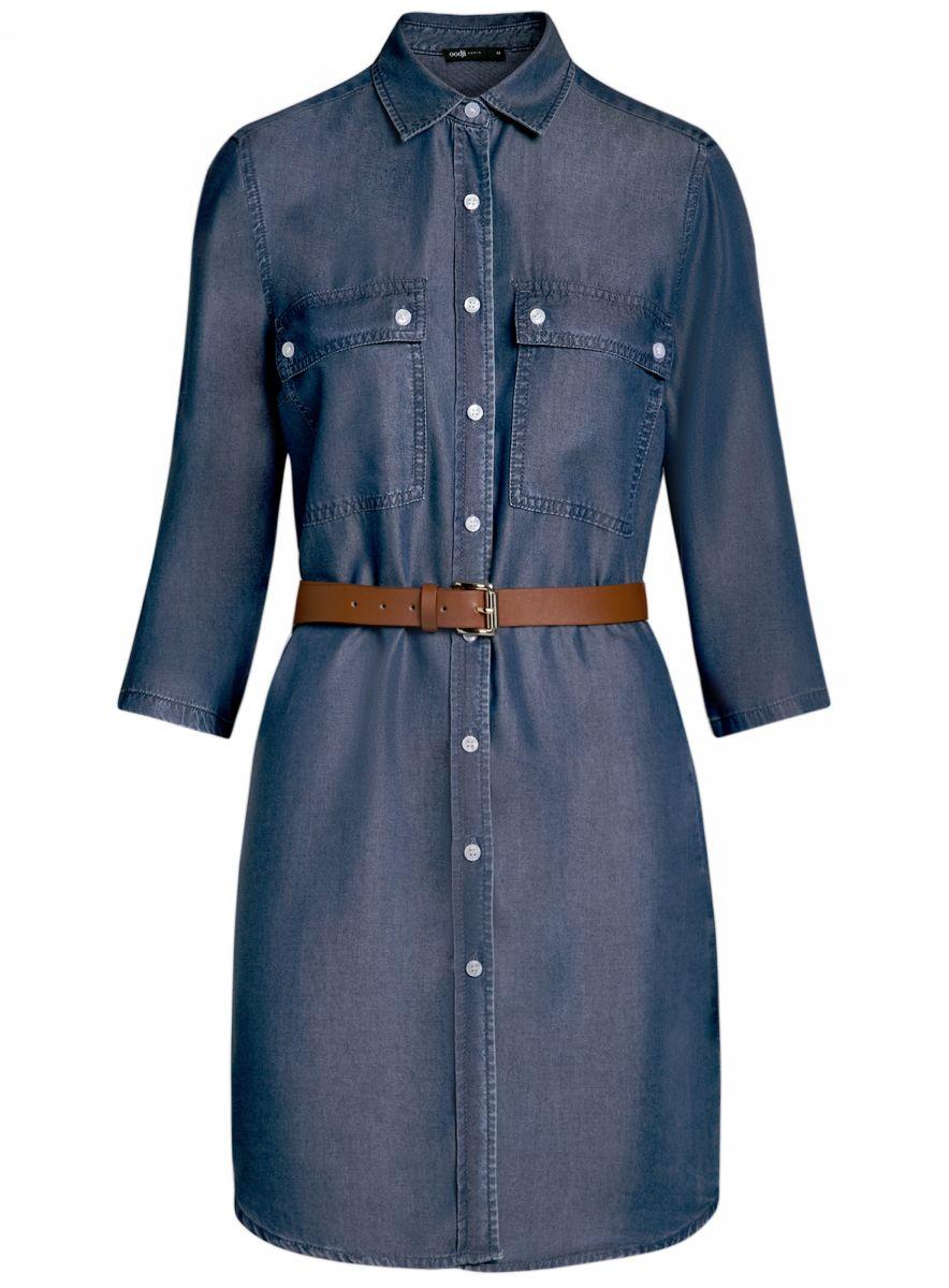 Платье12909052/45490/7000WДжинсовое платье-рубашка oodji Ultra - стильное и модное решение на каждый день. Модель мини-длины с рукавами 3/4 и отложным воротничком спереди застегивается на пуговицы по всей длине. На груди изделие дополнено двумя накладными карманами с клапанами на пуговицах. Рукава можно подвернуть и зафиксировать при помощи хлястиков с пуговицами. В комплект с платьем входит ремень из искусственной кожи с металлической пряжкой.