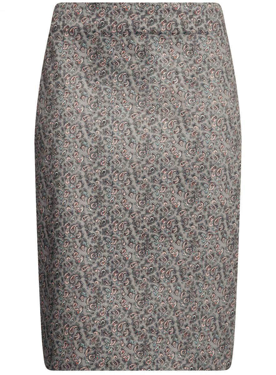 Юбка21608006-3B/14522/7900NСтильная юбка oodji Collection выполнена из хлопка с добавлением полиуретана. Модель застегивается сзади на застежку-молнию.
