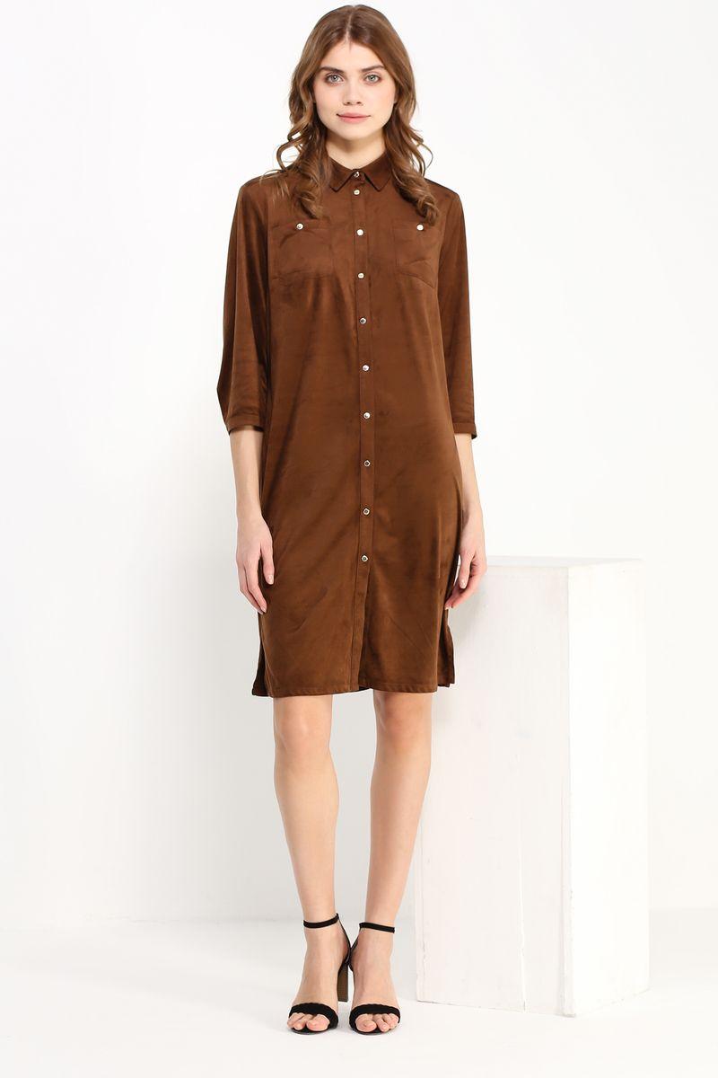 ПлатьеB17-11025Стильное платье Finn Flare изготовлено из мягкого полиэстера под велюр. Модель застегивается по всей длине переда на металлические кнопки. На груди имеются два накладных кармана, по бокам платья - разрезы. Манжеты рукавов застегиваются на кнопки.