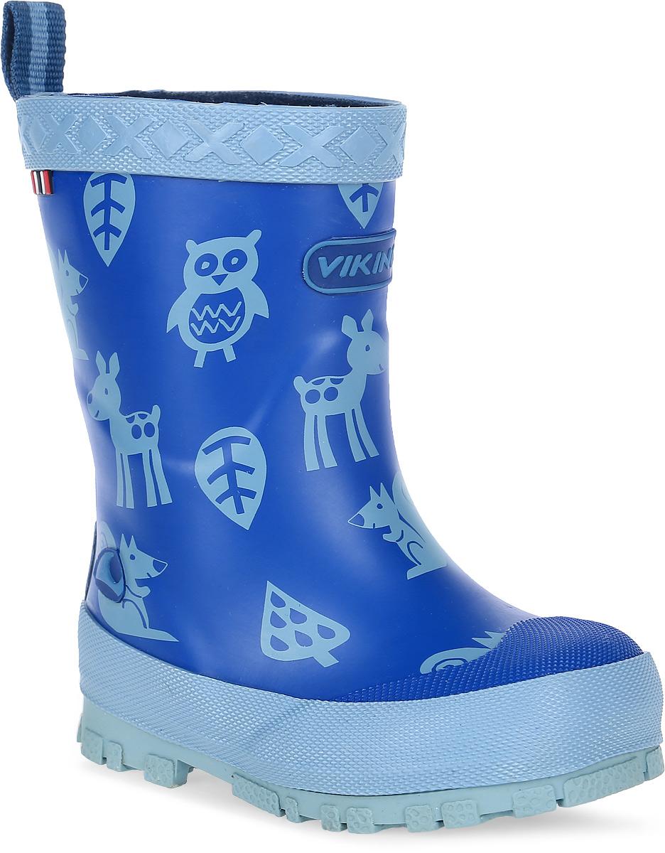 Резиновые сапоги1-17110-00550Модные резиновые сапоги от Viking - идеальная обувь в дождливую погоду для вашего мальчика. Модель с противоударным носком оформлена изображением зверей и эмблемой с названием бренда. Внутренняя поверхность и стелька, выполненные из синтетического материала со скрученными волокнами, способствующими поддержанию тепла, комфортны при ходьбе. Ярлычок на заднике облегчает обувание модели. Подошва с протектором гарантирует отличное сцепление с любой поверхностью. Резиновые сапоги - необходимая вещь в гардеробе каждого мальчика.
