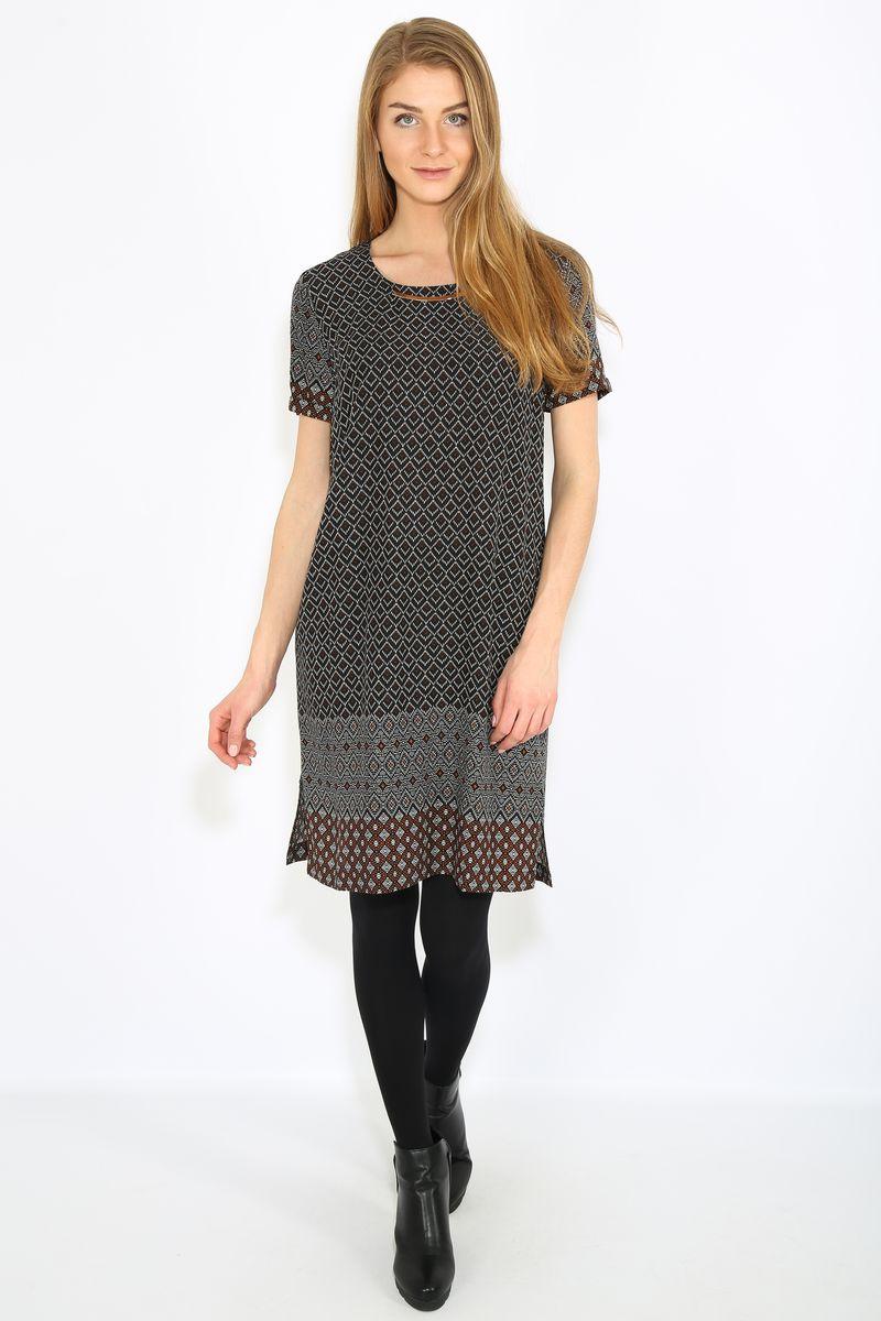 ПлатьеB17-32019Платье женское Finn Flare выполнена из хлопка. Модель с круглым вырезом горловины и короткими рукавами.