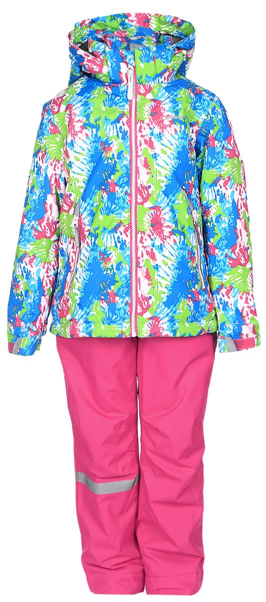 Комплект верхней одежды752000IVT_312Комплект верхней детской одежды Icepeak состоит из куртки и полукомбинезона. Куртка с капюшоном застегивается на пластиковую молнию. На рукавах предусмотрены манжеты. Спереди расположены два врезных кармана на молниях. Оформлено изделие оригинальным принтом. Брюки спереди застегиваются на пластиковую молнию и кнопку. Модель дополнена эластичными наплечными лямками, регулируемыми по длине. На талии предусмотрена широкая резинка. На комплекте предусмотрены светоотражающие элементы.