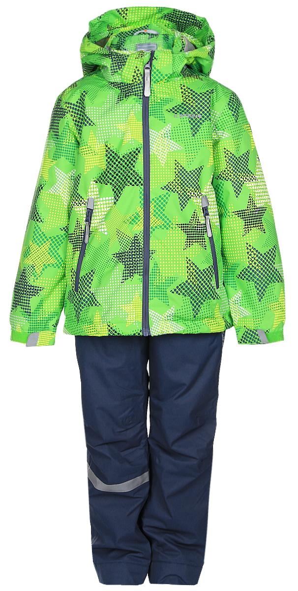 Комплект верхней одежды752001IVT_335Комплект верхней детской одежды Icepeak состоит из куртки и полукомбинезона. Куртка с капюшоном и воротником-стойкой застегивается на пластиковую молнию. На рукавах предусмотрены манжеты. Спереди расположены два врезных кармана на молниях. Оформлено изделие оригинальным принтом. Брюки спереди застегиваются на пластиковую молнию и кнопку. Модель дополнена эластичными наплечными лямками, регулируемыми по длине. На талии предусмотрена широкая резинка.
