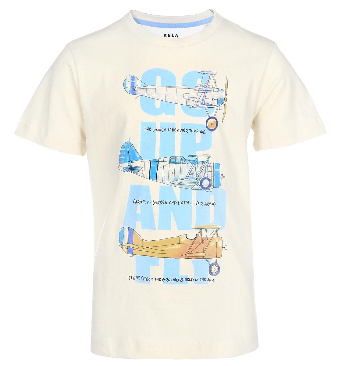 ФутболкаTs-711/193-7112Стильная футболка для мальчика Sela изготовлена из натурального хлопка и оформлена оригинальным принтом. Воротник дополнен мягкой трикотажной резинкой. Яркий цвет модели позволяет создавать модные образы.
