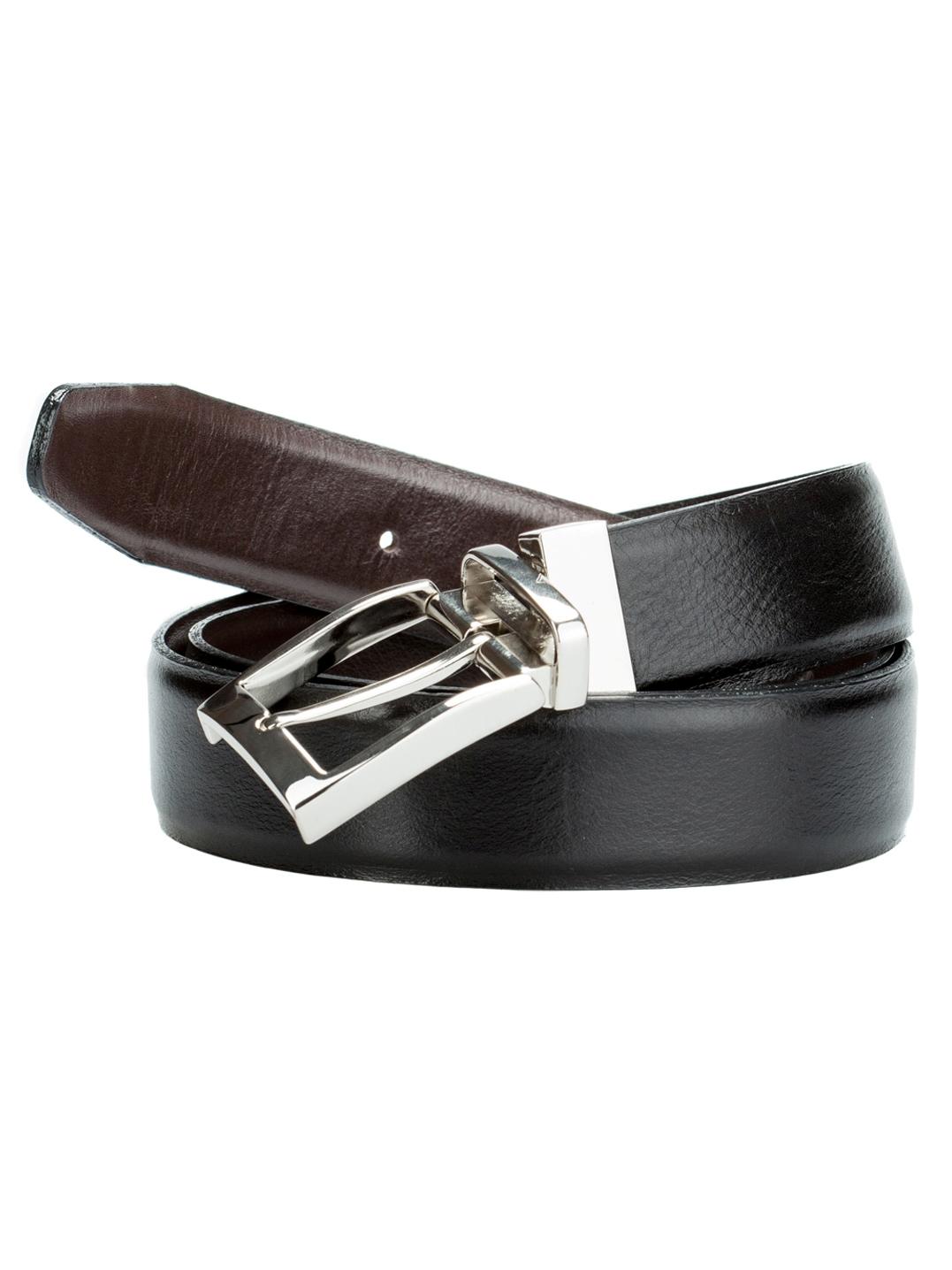 РеменьRM.1.ST.черный/коричневыйМужской двусторонний классический ремень выполнен из натуральной кожи. Гладкая кожа с умеренным блеском. Цвет пряжки: никель. Отличительная черта: наличие поворотной пряжки.