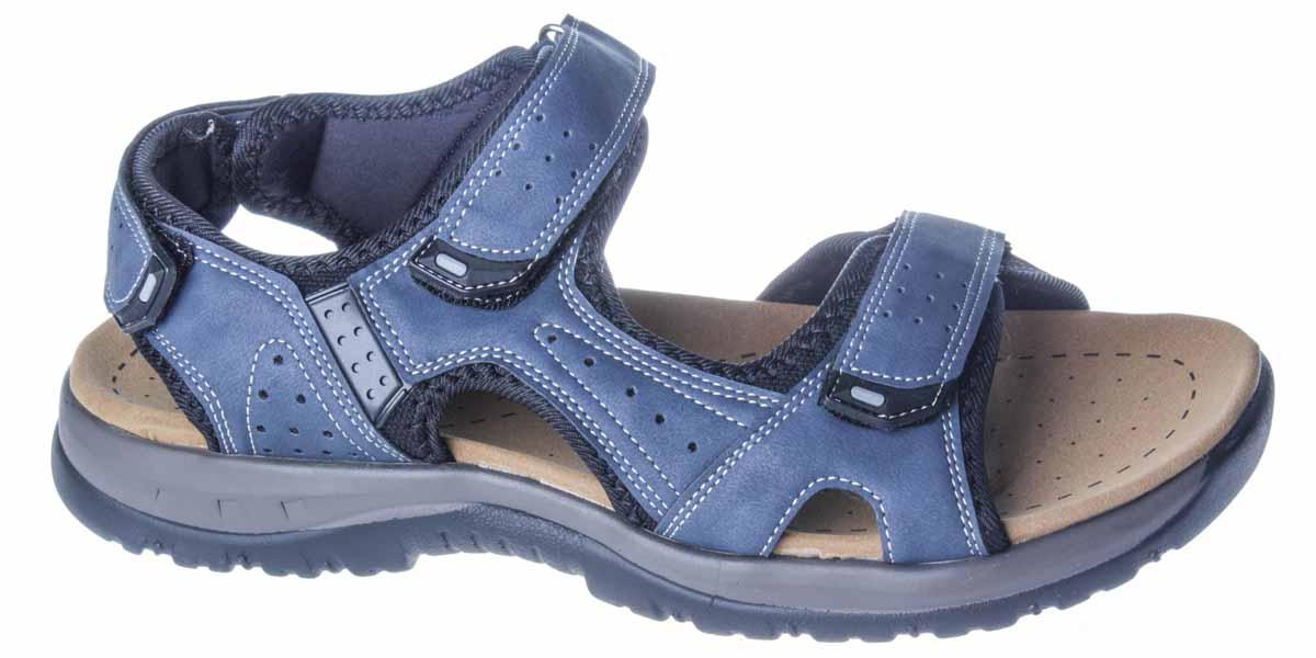 Сандалии435-704T-17s-04-16Модные мужские сандалии от бренда Patrol придутся вам по душе. Верх модели, выполненный из искусственного нубука, оформлен декоративной контрастной прострочкой и перфорацией, на ремешках - накладками из ПВХ. Ремешки с застежками-липучками надежно зафиксируют модель на ноге. Подкладка из текстильного материала комфортна при движении. Подошва исполнена из полиуретана. Рифленое основание подошвы гарантирует идеальное сцепление с любой поверхностью. Такие сандалии принесут комфорт и уют вашим ногам.