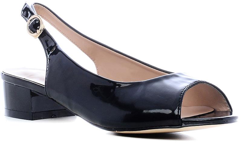 Босоножки157-84Стильные босоножки от Nobbaro займут достойное место среди вашей коллекции летней обуви. Модель выполнена из искусственной, лакированной кожи. Открытый носок и задник обеспечивают дополнительную вентиляцию, позволяют ногам дышать. Ремешок с металлической пряжкой отвечает за надежную фиксацию модели на ноге. Длина ремешка регулируется за счет болта. Стелька из искусственной кожи гарантирует комфорт при ходьбе. Рифление на каблуке и на подошве защищает изделие от скольжения. Прелестные босоножки очаруют вас своим дизайном с первого взгляда.