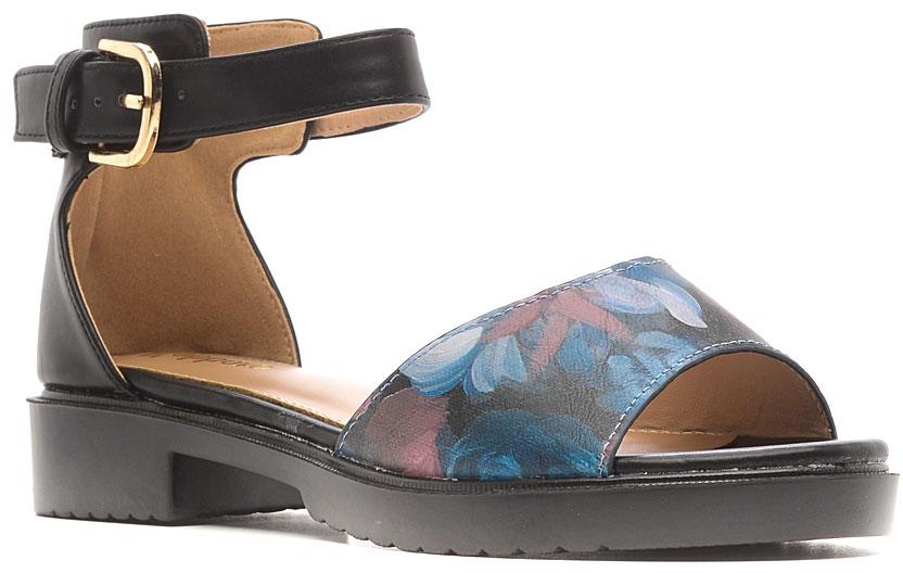 Босоножки1152-66Стильные босоножки от Nobbaro займут достойное место среди вашей коллекции летней обуви. Модель выполнена из искусственной кожи и дополнена цветочным принтом. Закрытый задник и ремешок с металлической пряжкой отвечают за надежную фиксацию модели на ноге. Длина ремешка регулируется за счет болта. Стелька из искусственной кожи гарантирует комфорт при ходьбе. Рифление на каблуке и на подошве защищает изделие от скольжения. Прелестные босоножки очаруют вас своим дизайном с первого взгляда.