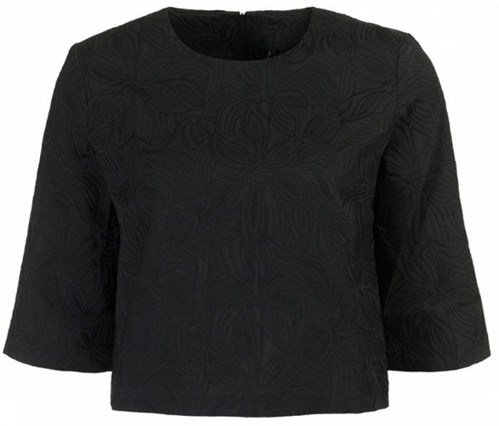 БлузкаB177046_Black JacquardСтильная блузка Baon выполнена из плотного материала с фактурным узором. Модель свободного кроя с круглым вырезом горловины и рукавами 3/4 на спинке застегивается на застежку-молнию. Укороченная длина блузки позволяет сочетать ее с актуальными брюками и юбками с завышенной линией талии. Лаконичная блузка поможет создать женственный образ.