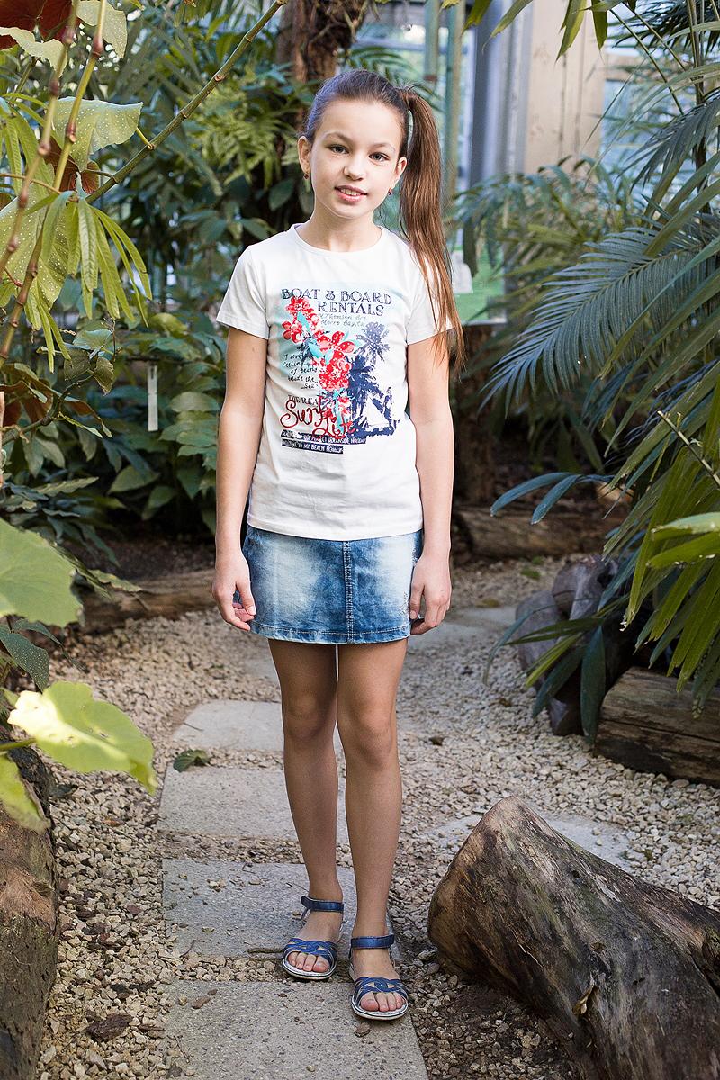 Юбка718061Джинсовая юбка оригинальной варки для девочки. Декорирована оригинальной вышивкой. Пояс с регулировкой внутренней резинкой.