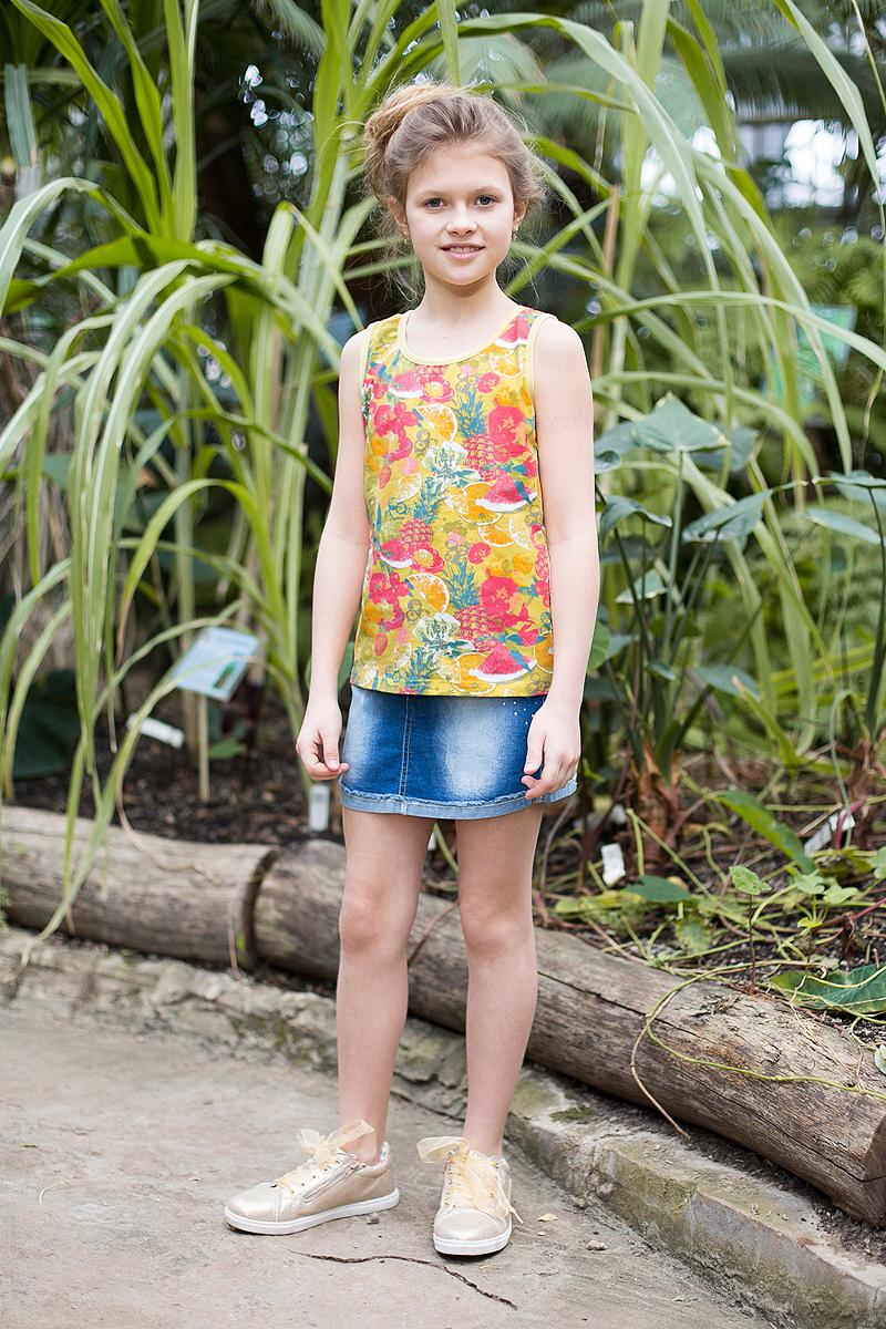 Юбка718164Джинсовая юбка оригинальной варки для девочки. Карманы декорированы стразами. Пояс с регулировкой внутренней резинкой.