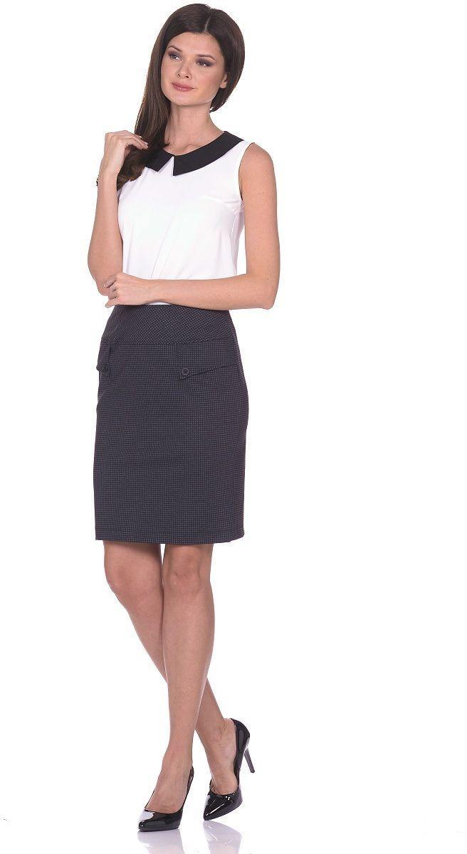 ЮбкаWD-1604FПрямая юбка на подкладке, с кокетками . Спереди обработан фигурный вырез, по которрму пришиты отделочные пуговицы. Сзади по среднему шву - разрез.