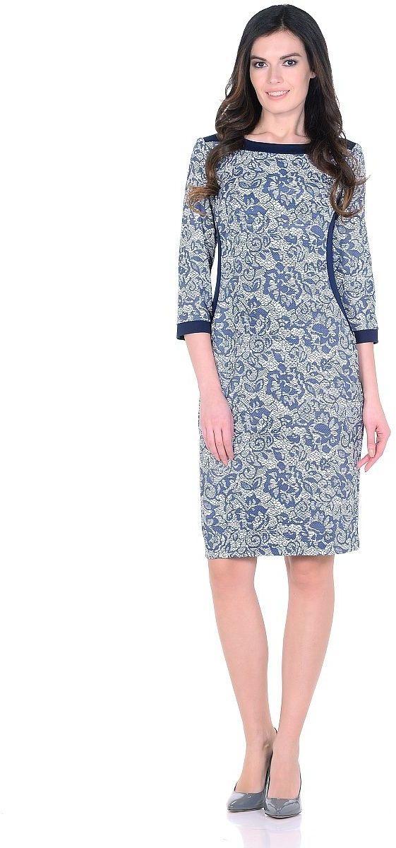 ПлатьеWD-2622FТрикотажное платье полуприлегающего силуэта, с отделочными деталями из контрастного однотонного трикотажа. Рукав - 3/4.