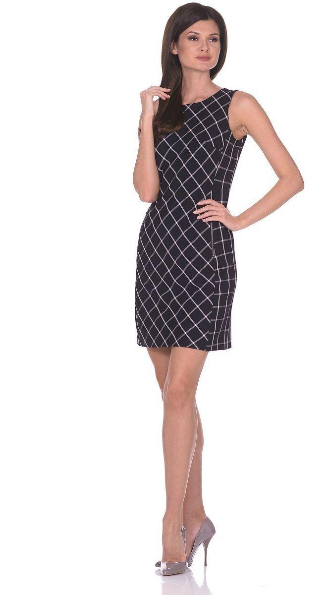 ПлатьеWD-2691VПлатье-сарафан без рукавов, из ткани в клетку, прилегающего силуэта, круглый вырез горловины. Крой передней части выполнен под углом 45 град.