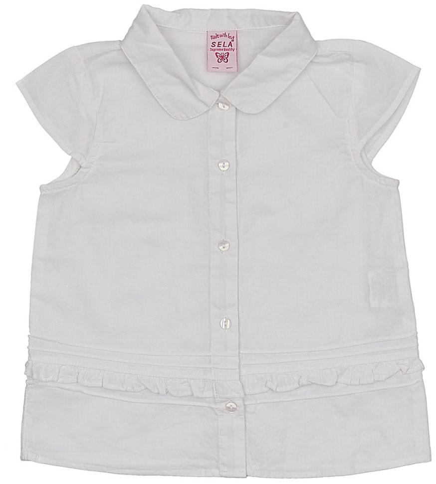 БлузкаBs-512/273-7284Стильная блузка для девочки Sela выполнена из натурального хлопка и оформлена рюшей. Модель прямого кроя с отложным воротничком и рукавами-крылышками застегивается на пуговицы. Блузка подойдет для прогулок и дружеских встреч и будет отлично сочетаться с джинсами и брюками, и гармонично смотреться с юбками. Мягкая ткань комфортна и приятна на ощупь.