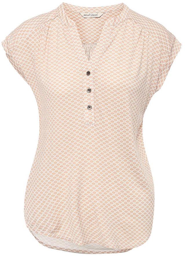 ФутболкаTsBK-111/264-7152Оригинальная женская футболка Sela выполнена из легкого материала. Модель прямого кроя с цельнокроеными рукавами подойдет для прогулок и дружеских встреч, будет отлично сочетаться с джинсами и брюками, а также гармонично смотреться с юбками. Фигурный V-образный вырез горловины застегивается на три пуговицы. Мягкая ткань на основе вискозы и эластана комфортна и приятна на ощупь.