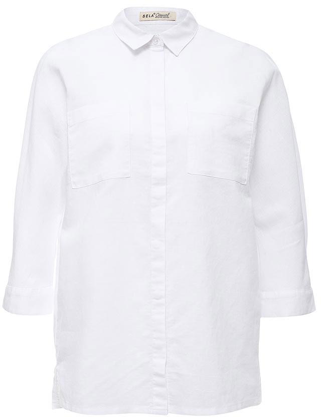 РубашкаB-112/225-7244Стильная женская рубашка Sela выполнена из хлопка и льна. Модель прямого кроя с отложным воротничком застегивается на пуговицы, скрытые планкой, и дополнена двумя накладными карманами. Манжеты рукавов длиной 3/4 также дополнены пуговицами. Рубашка подойдет для прогулок и дружеских встреч и будет отлично сочетаться с джинсами и брюками, и гармонично смотреться с юбками. Мягкая ткань комфортна и приятна на ощупь.