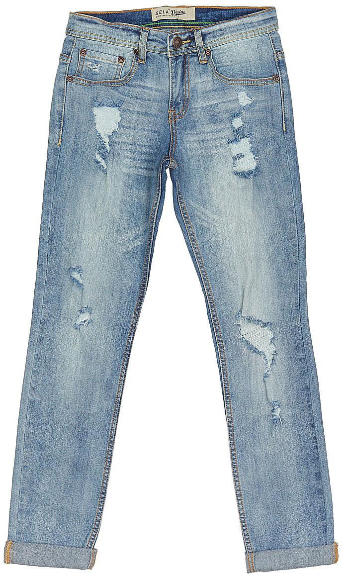 ДжинсыPJ-835/345-7243Стильные джинсы с подворотами для мальчика Sela выполнены из качественного эластичного материала с эффектом потертостей и разрывами. Джинсы зауженного кроя и стандартной посадки на талии застегиваются на пуговицу и имеют ширинку на застежке-молнии. На поясе имеются шлевки для ремня. Модель представляет собой классическую пятикарманку: два втачных и накладной кармашек спереди и два накладных кармана сзади.