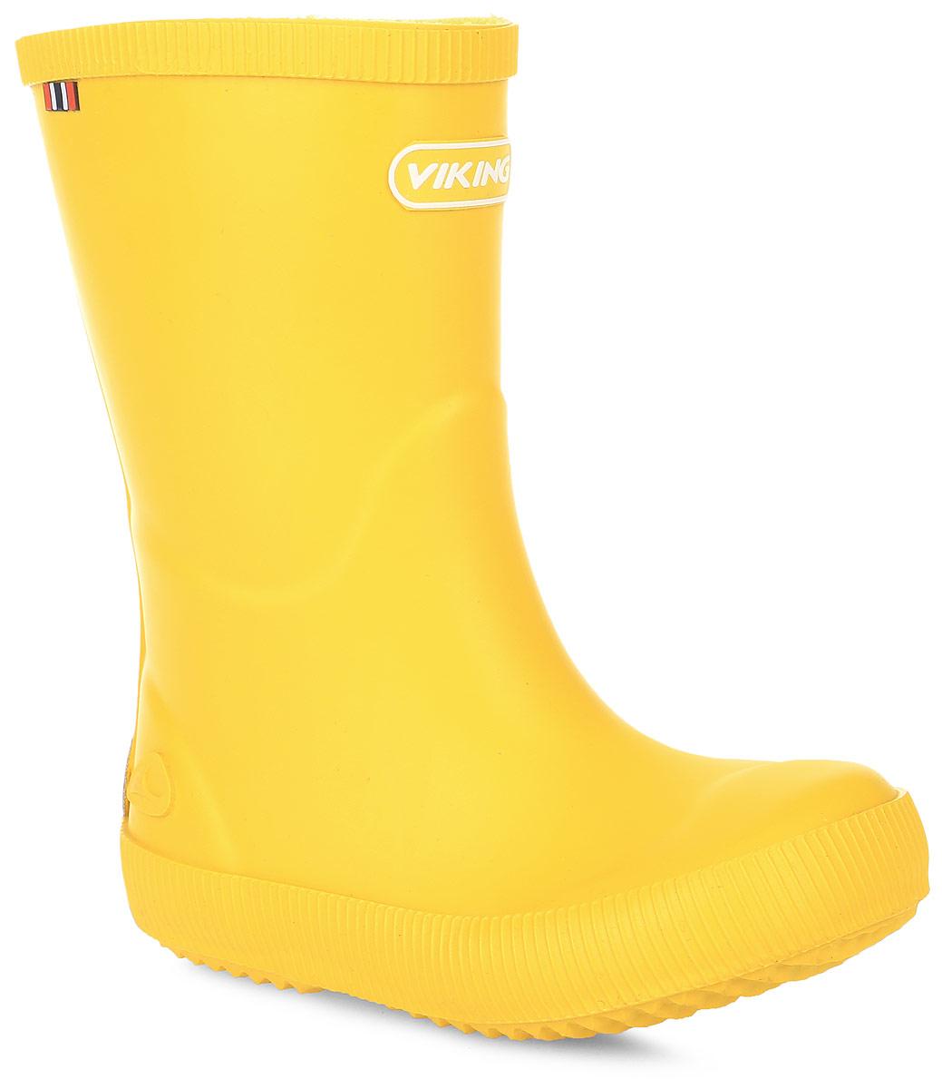 Резиновые сапоги1-13200-00013Модные резиновые сапоги от Viking - идеальная обувь в дождливую погоду для вашей девочки. Модель лаконичного дизайна оформлена эмблемой с названием бренда. Внутренняя поверхность и стелька, выполненные из синтетического материала со скрученными волокнами, способствующими поддержанию тепла, комфортны при ходьбе. Подошва с протектором гарантирует отличное сцепление с любой поверхностью. Резиновые сапоги - необходимая вещь в гардеробе каждого ребенка.