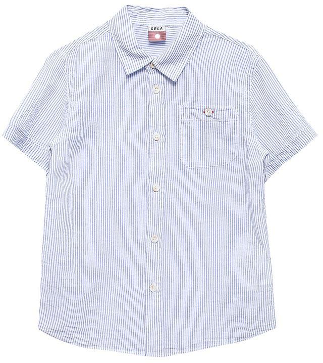 РубашкаHs-712/450-7213Стильная рубашка для мальчика Sela выполнена из натурального хлопка и оформлена принтом в тонкую полоску. Модель прямого кроя с короткими рукавами и отложным воротничком застегивается на пуговицы и дополнена накладным карманом на пуговице на груди. Универсальный цвет позволяет сочетать модель с любой одеждой.