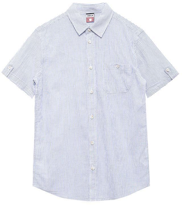 РубашкаHs-812/200-7213Стильная рубашка для мальчика Sela выполнена из натурального хлопка и оформлена принтом в тонкую полоску. Модель прямого кроя с короткими рукавами и отложным воротничком застегивается на пуговицы и дополнена накладным карманом на пуговице на груди. Манжеты рукавов дополнены декоративными хлястиками на пуговицах. Универсальный цвет позволяет сочетать модель с любой одеждой.