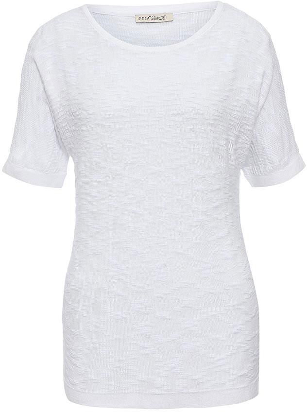 ДжемперJRs-114/476-7233Стильный женский джемпер Sela выполнен из качественного трикотажа фактурной вязки. Модель прямого кроя с цельнокроеными рукавами до локтя подойдет для прогулок и дружеских встреч и будет отлично сочетаться с джинсами и брюками, а также гармонично смотреться с юбками. Мягкая ткань на основе хлопка и полиэстера комфортна и приятна на ощупь. Воротник, манжеты рукавов и низ изделия связаны резинкой.