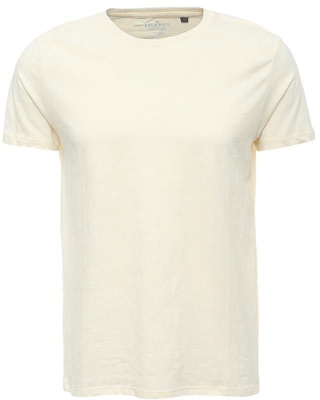ФутболкаTs-211/1130-7223Стильная мужская футболка полуприлегающего силуэта Sela изготовлена из однотонного натурального хлопка. Воротник дополнен мягкой трикотажной резинкой. Универсальный цвет позволяет сочетать модель с любой одеждой.