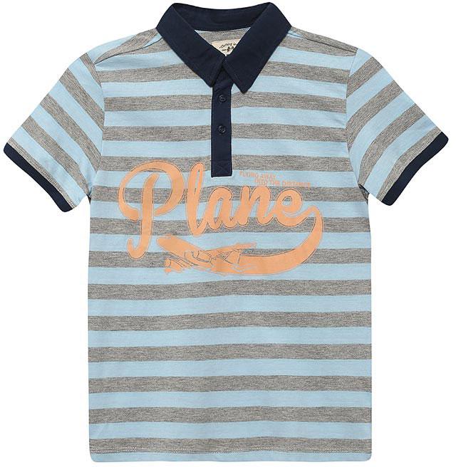 ПолоTsp-811/1061-7112Стильная футболка-поло для мальчика Sela выполнена из натурального хлопка и оформлена принтом в полоску и надписью. Модель прямого кроя с короткими рукавами и отложным воротничком застегивается на пуговицы до середины груди. Манжеты рукавов и воротничок выполнены из материала контрастного цвета.