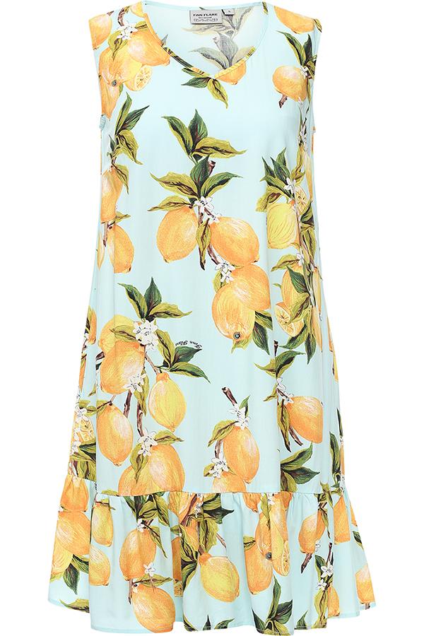 ПлатьеS17-14090_711Платье Finn Flare выполнено из 100% вискозы. Модель с V-образным вырезом горловины оформлено оригинальным принтом.