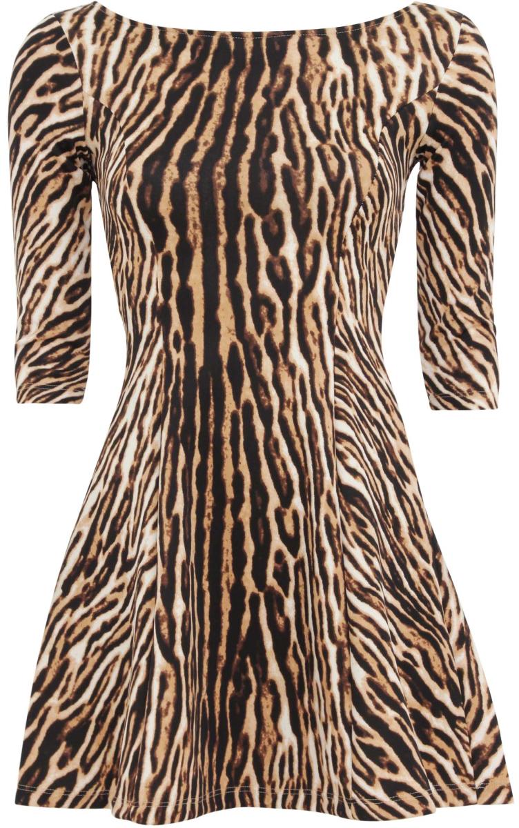 Платье14001150-1R/42449/3329AСтильное платье oodji Ultra с расклешенной юбкой выполнено из качественного трикотажа. Модель мини-длины с круглым вырезом горловины и рукавами 3/4 оформлена оригинальным звериным принтом.