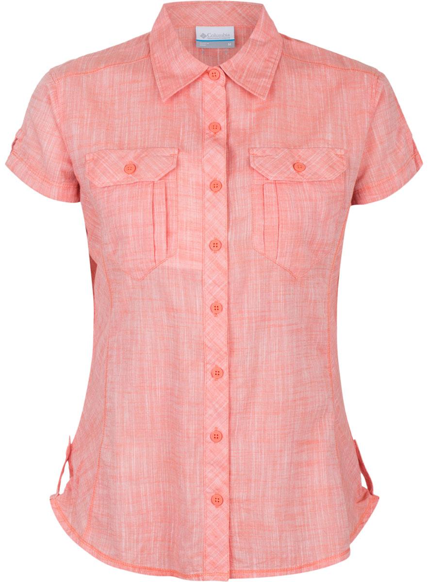 Рубашка1450311-341Женская рубашка Columbia Camp Henry SS изготовлена из натурального хлопка. Модель Regular Fit с отложным воротником и короткими рукавами застегивается на пуговицы. Спереди расположены два накладных кармана с клапанами на пуговицах.