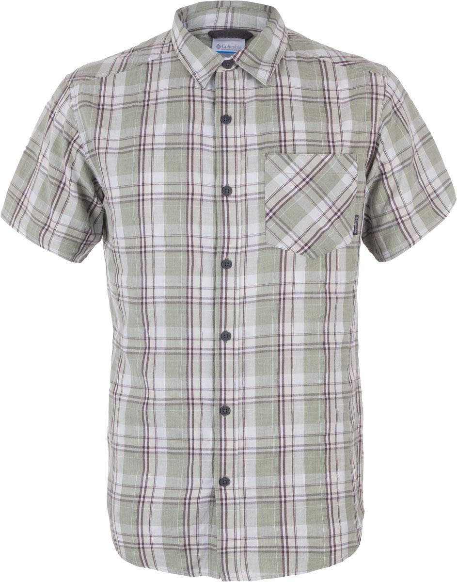 Рубашка1577771-348Мужская рубашка Columbia Katchor II SS изготовлена из натурального хлопка. Модель Regular Fit с отложным воротником и короткими рукавами застегивается на пуговицы. Спереди расположен нагрудный карман. Изделие оформлено принтом.