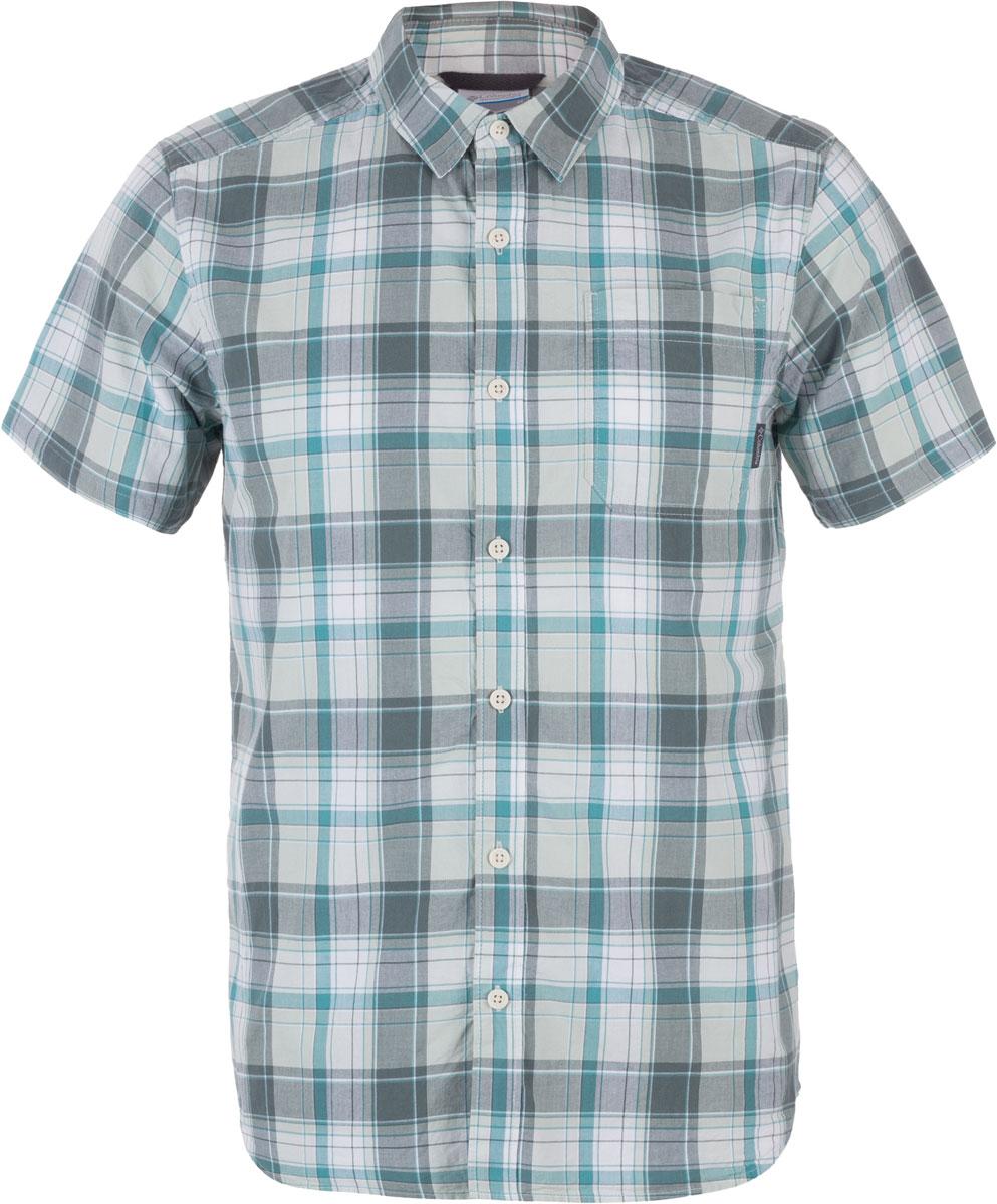 Рубашка1577656-317Мужская рубашка Columbia Thompson Hill II Yarn Dye изготовлена из натурального хлопка. Модель Slim Fit с отложным воротником и короткими рукавами застегивается на пуговицы. Спереди расположен накладной карман. Рубашка оформлена принтом.