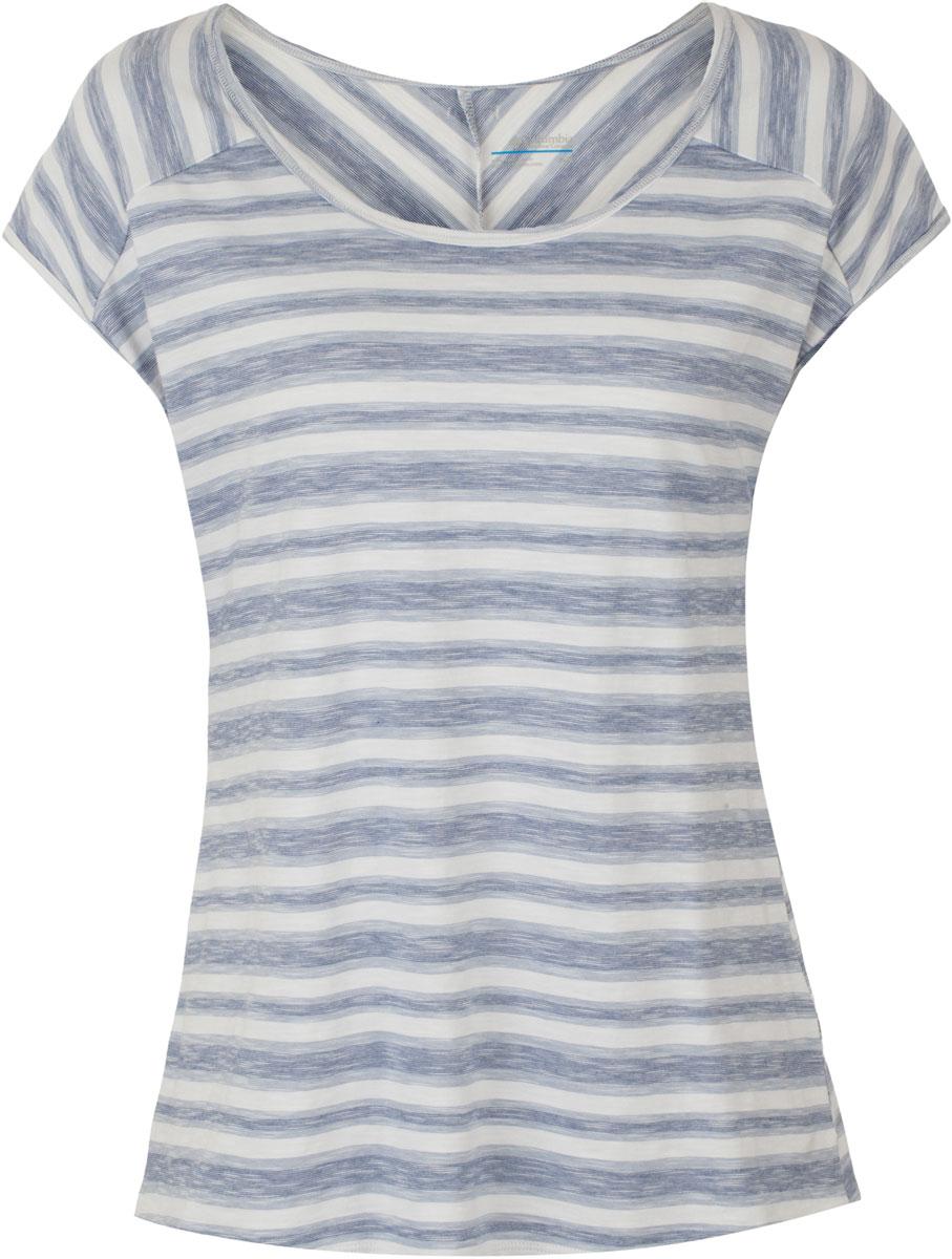 Футболка1716301-508Женская футболка Columbia Rocky Ridge Stripe Tee изготовлена из эластичного материала, тянущегося в четырех направлениях. Модель с круглым вырезом горловины и короткими рукавами-реглан оформлена принтом в полоску.