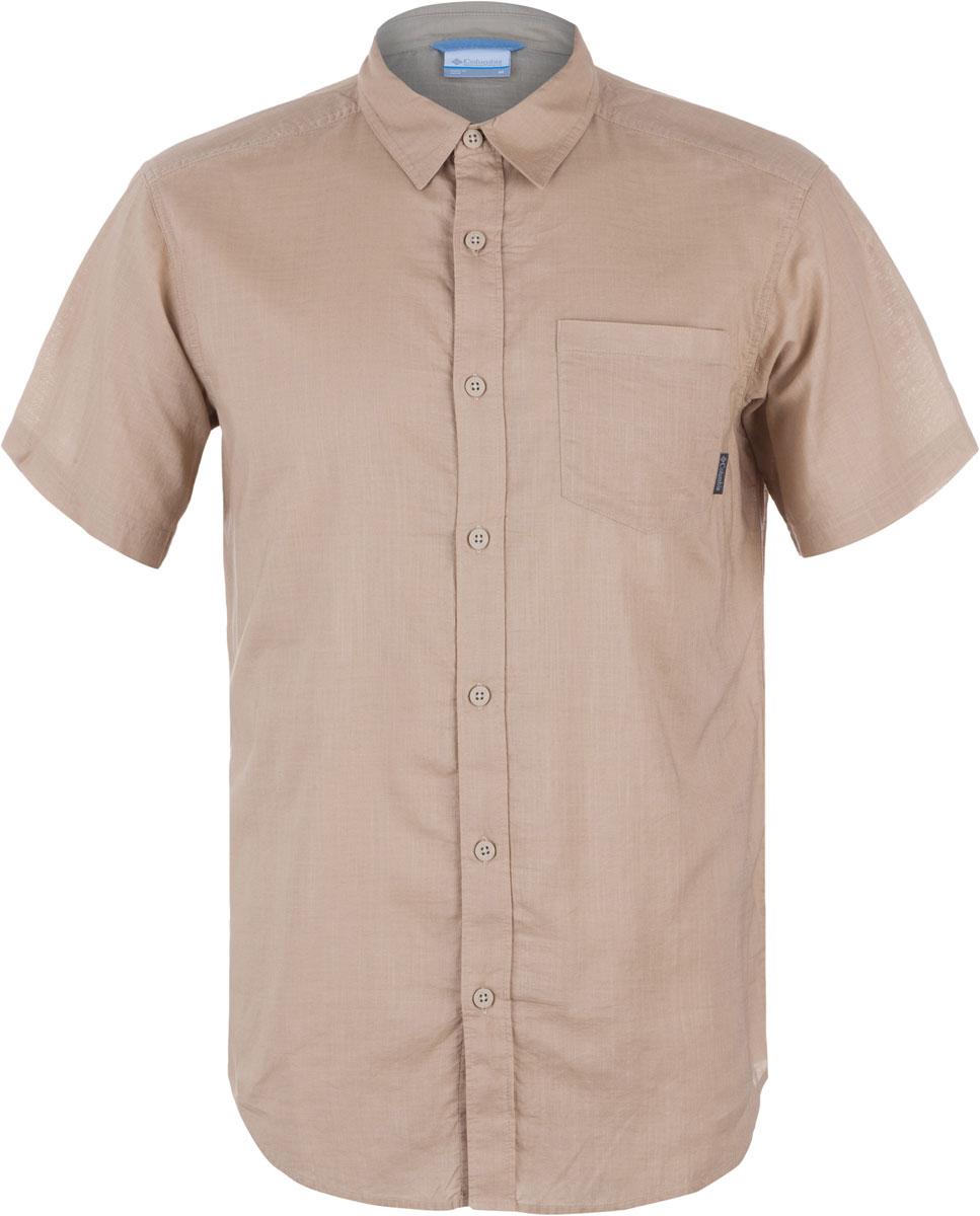 Рубашка1715241-265Мужская рубашка Columbia Cape Side Solid SS изготовлена из натурального хлопка. Модель Regular Fit с отложным воротником и короткими рукавами застегивается на пуговицы. Спереди расположен накладной карман.