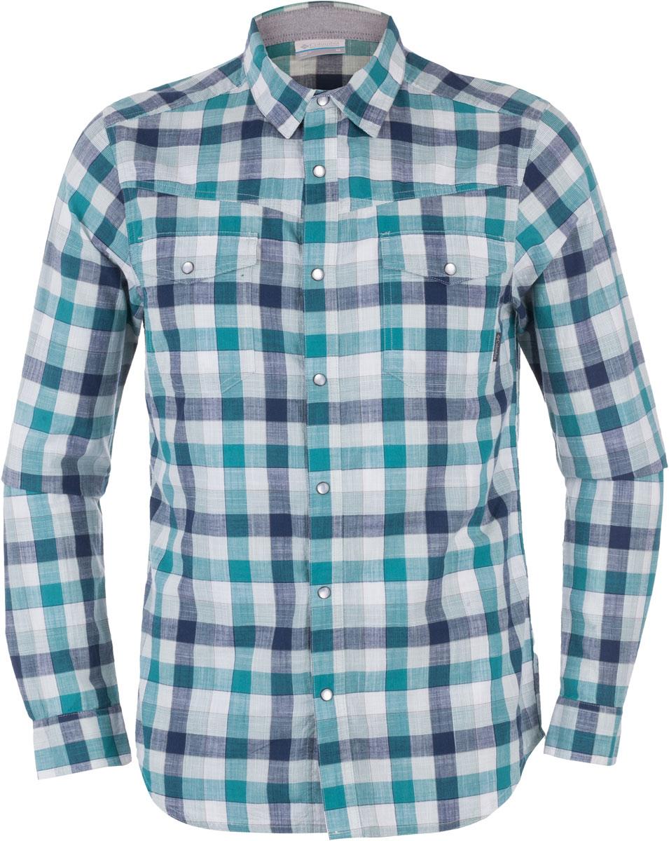 Рубашка1657653-413Мужская рубашка Columbia Leadville Range LS изготовлена из натурального хлопка. Модель Slim Fit с отложным воротником и длинными рукавами застегивается на кнопки. Спереди расположены нагрудные карманы с клапанами на кнопках. Изделие оформлено принтом в клетку.