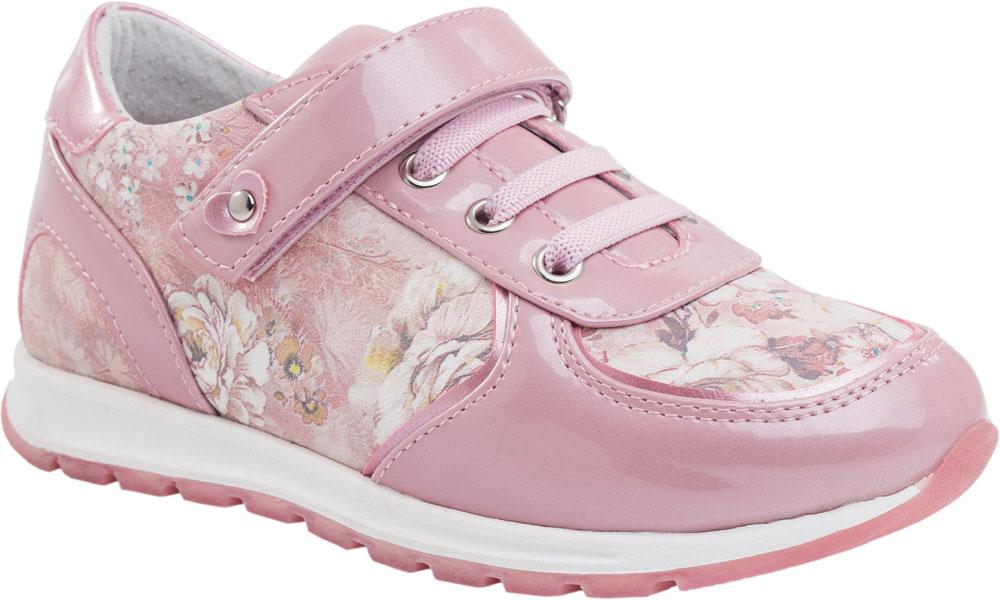 Кроссовки332080-21Модные кроссовки для девочки от Котофей, выполненные из натуральной кожи и натуральной лакированной кожи, оформлены цветочным принтом. Подкладка и стелька из натуральной кожи комфортны при движении. Ремешок с застежкой-липучкой и эластичная шнуровка надежно зафиксируют модель на ноге. Подошва дополнена рифлением.