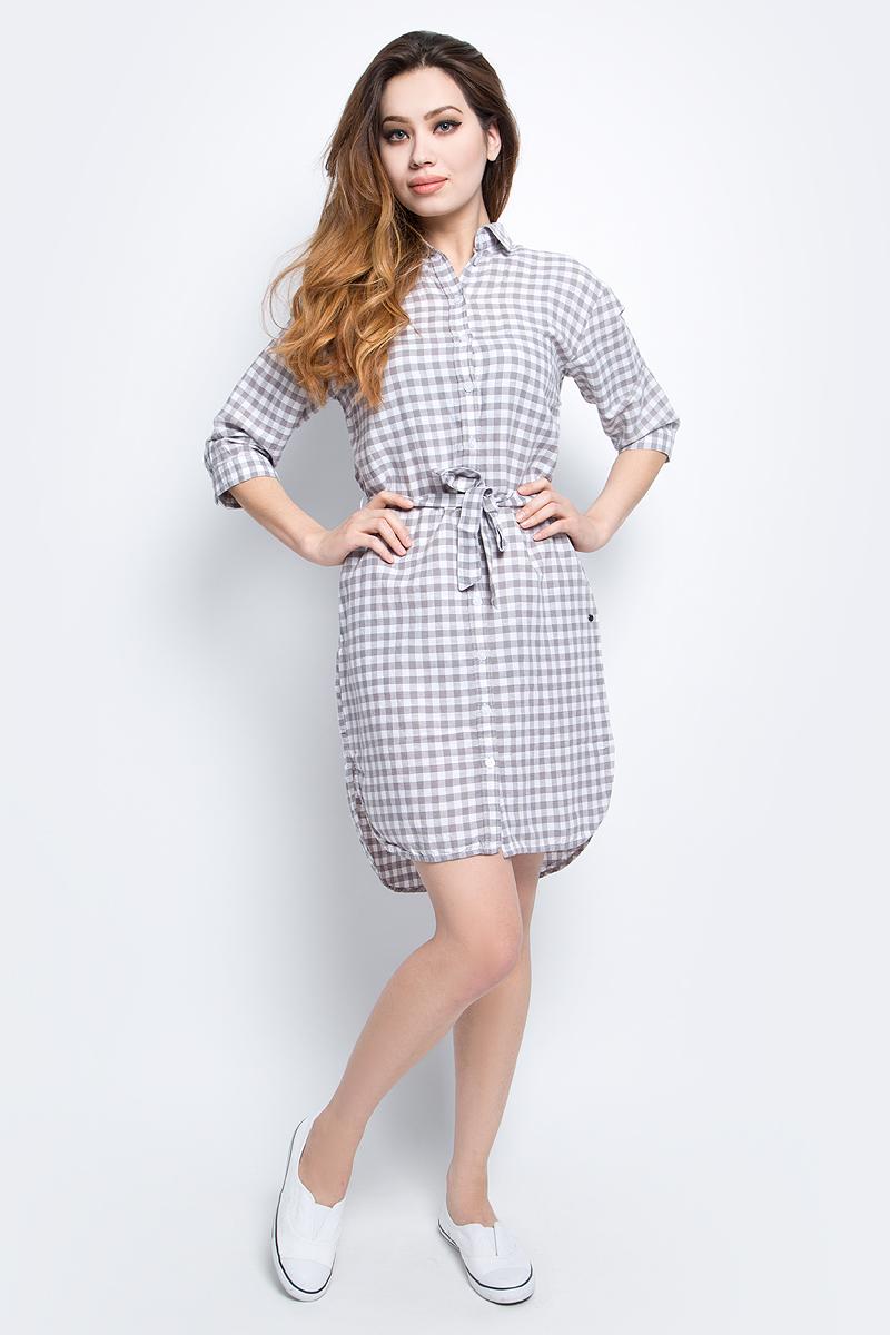 ПлатьеS17-32011_211Платье Finn Flare выполнено из льна и хлопка. Модель с отложным воротником и рукавами 3/4.
